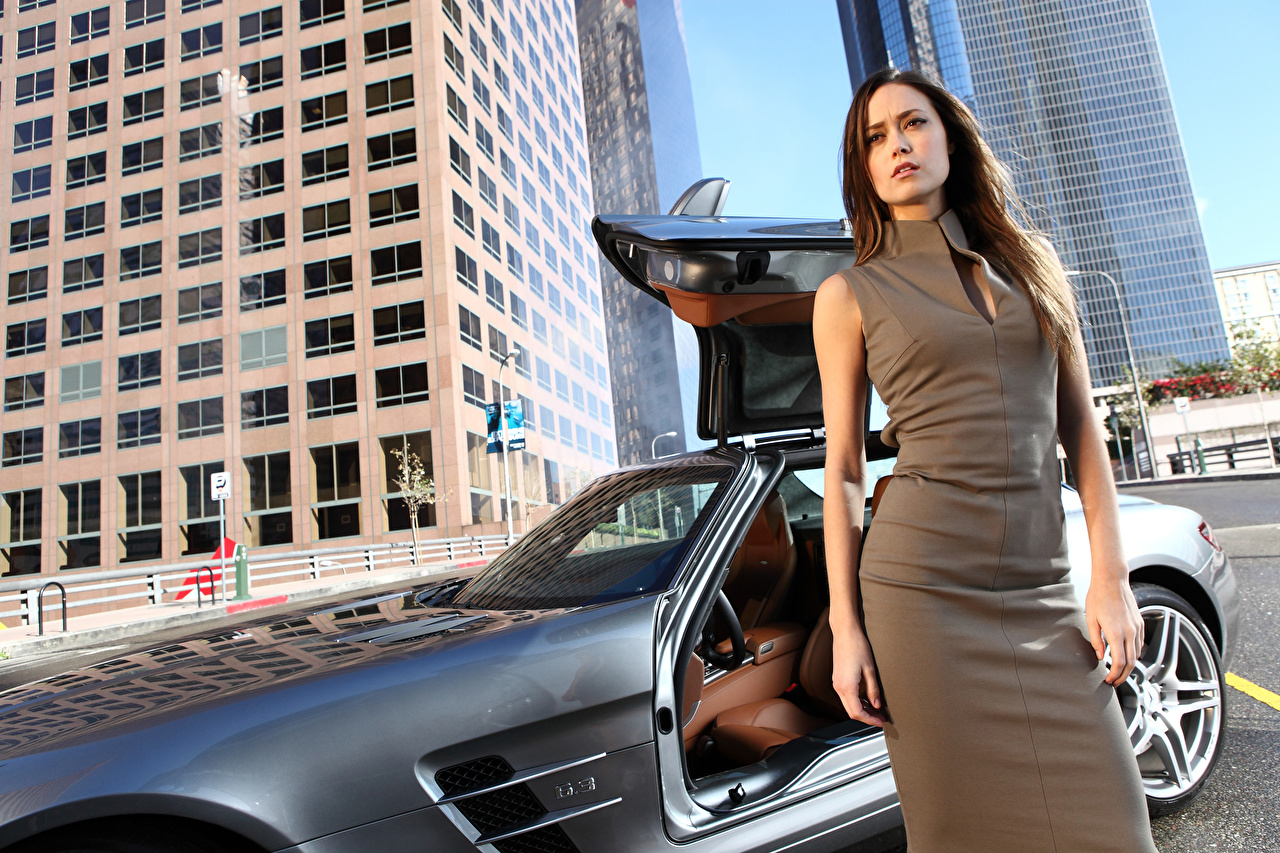 Picture Brown haired Girls Cars Hands Staring Dress female young woman auto automobile Glance gown frock