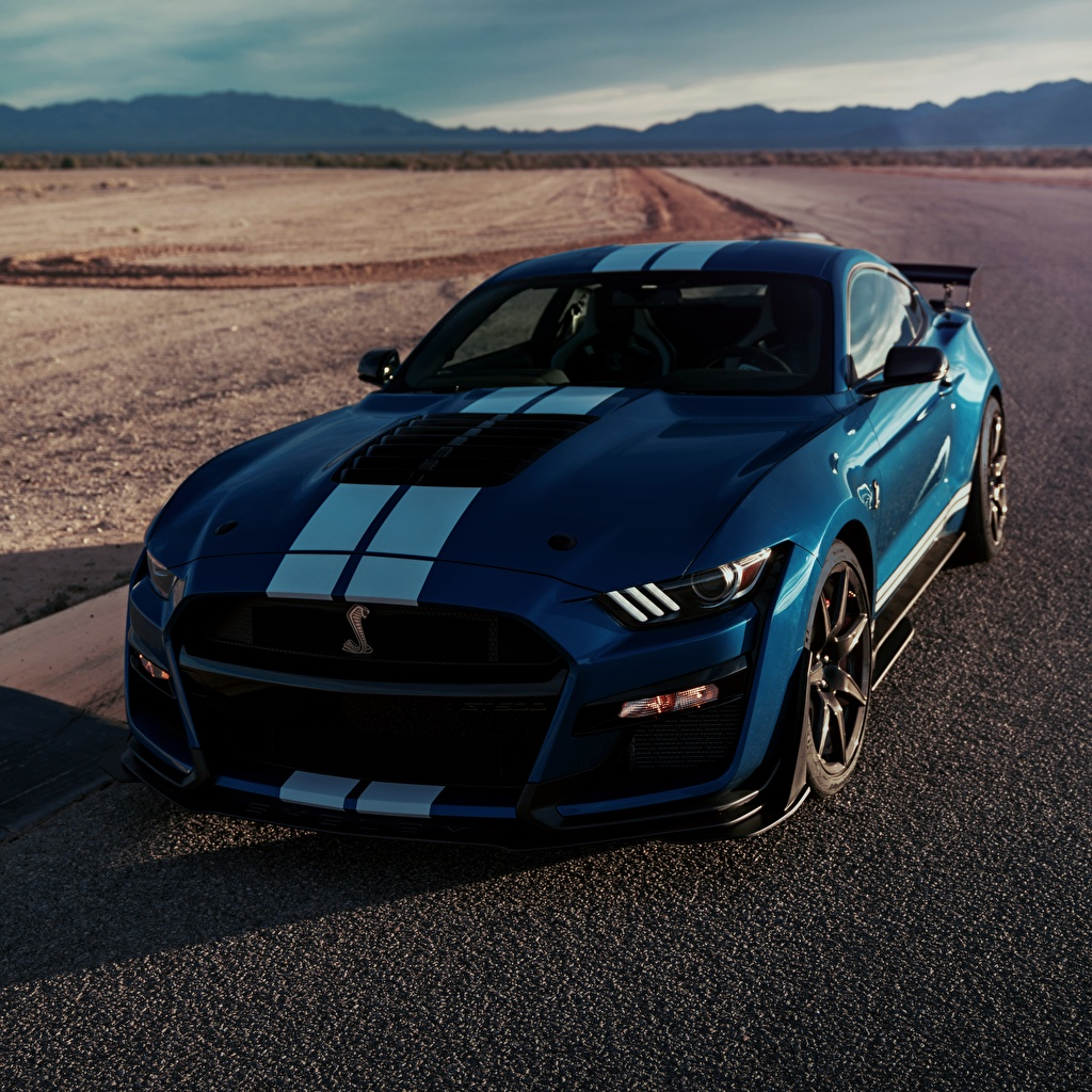 Desktop Wallpapers Ford Shelby GT500 2019 Blue auto Stripes Cars automobile