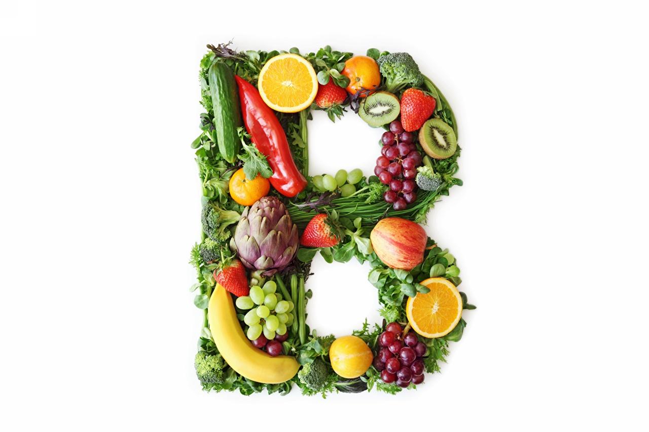 Fotos Vitamins B Obst Gemüse Lebensmittel Weißer hintergrund das Essen