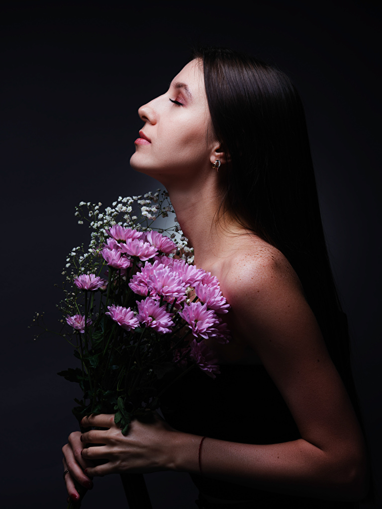 Wallpaper Diana Pozdnysheva, Nikolay Bobrovsky Bouquets Girls Flowers Chrysanths Hands  for Mobile phone bouquet female young woman Mums flower Chrysanthemums