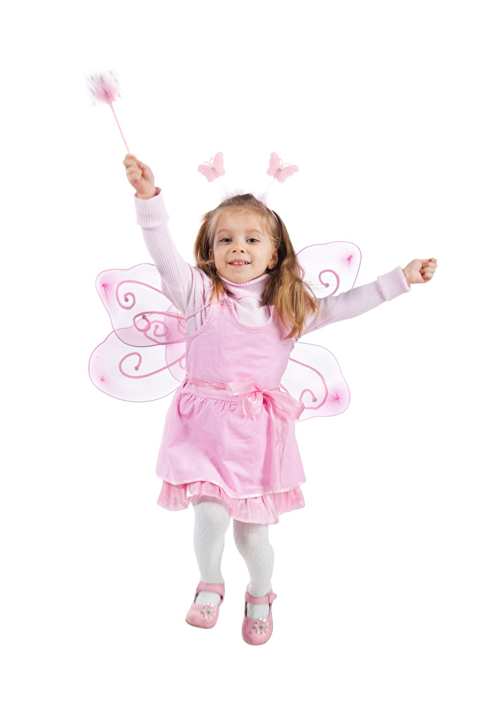 Pictures Little girls Fairies Butterflies Run happy Wings child White background frock  for Mobile phone Fairy butterfly Joy joyful Running Children gown Dress