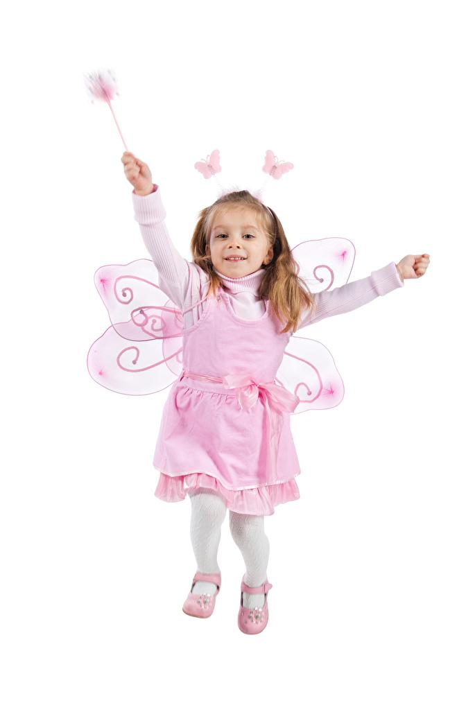 Foto Kleine Mädchen Feen Schmetterlinge Lauf Freude Flügel Kinder Weißer hintergrund Kleid Laufen Laufsport Glücklich fröhliches fröhlicher glückliche glücklicher glückliches