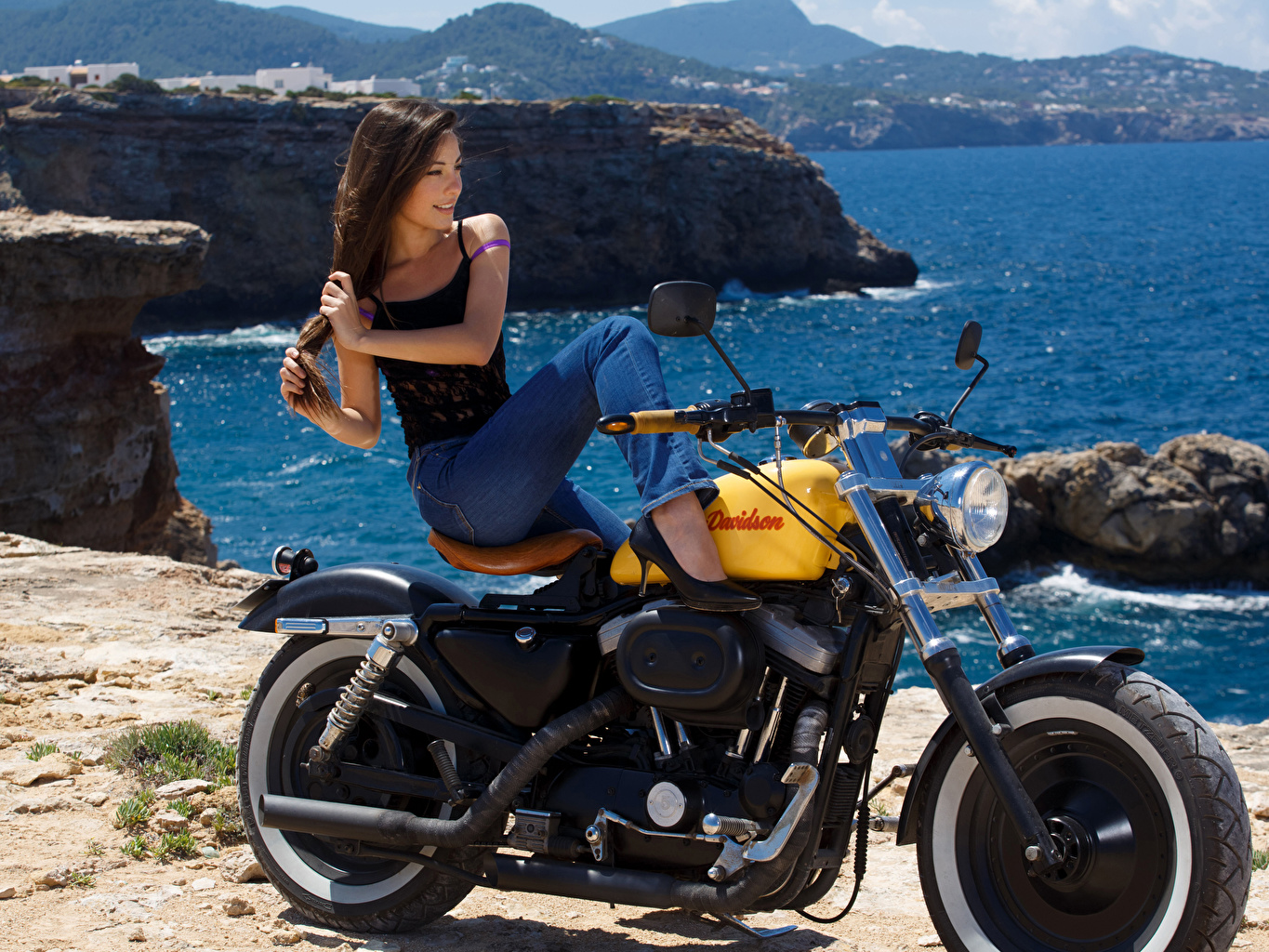 Wallpaper Harley-Davidson Brown haired Clara Alonso Girls Legs Jeans sit Side Hands female young woman Sitting