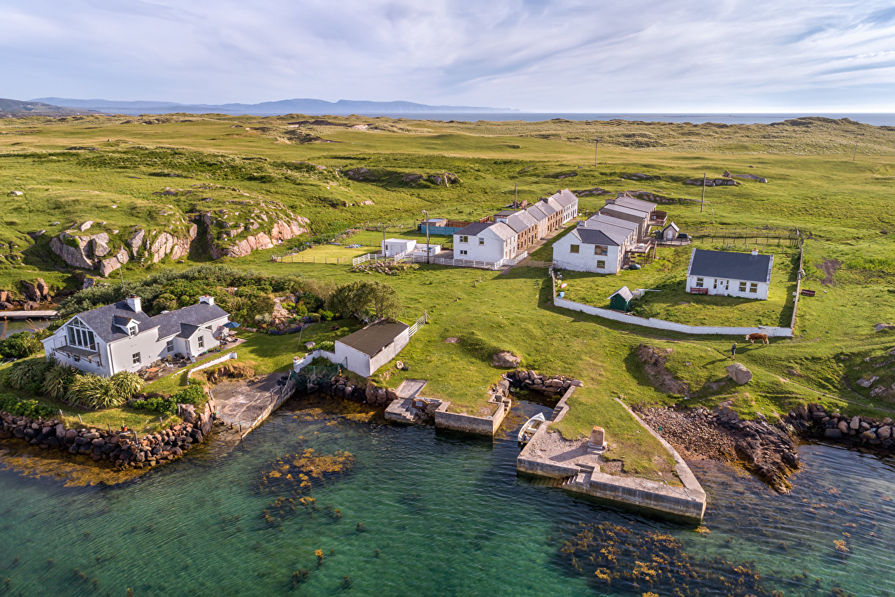 Desktop Wallpapers Ireland Donegal Nature Coast From above Building Houses