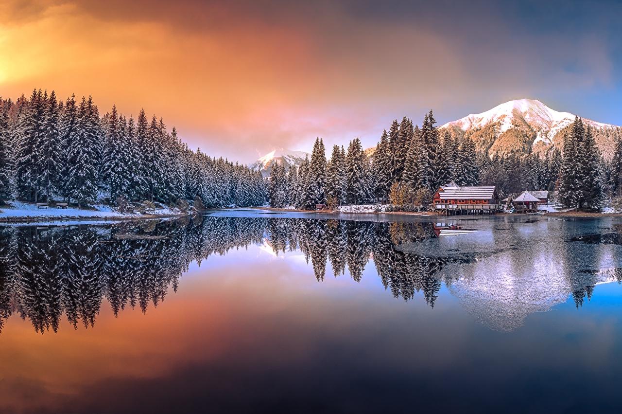 壁紙 湖 山 オーストリア 冬 Keltendorf 自然 ダウンロード 写真