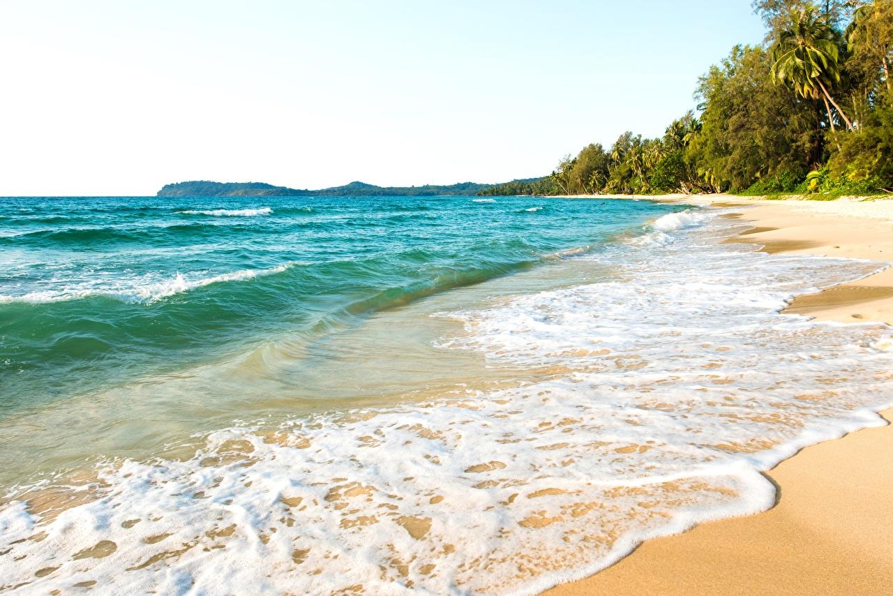 Desktop Hintergrundbilder Strände Meer Natur Tropen Wasserwelle Schaum Strand