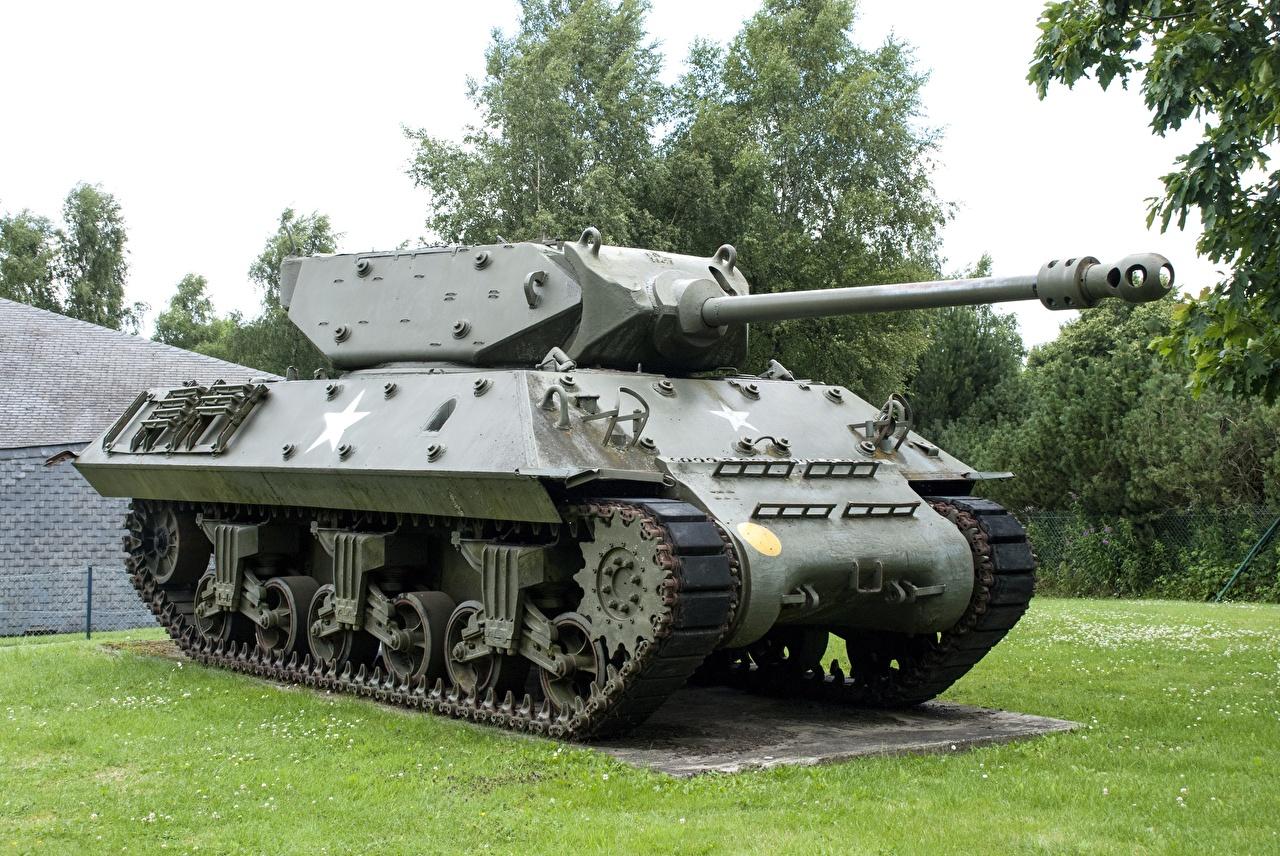 Photos Tanks Belgium Monuments Bastogne, M10 Wolverine Grass Army tank military