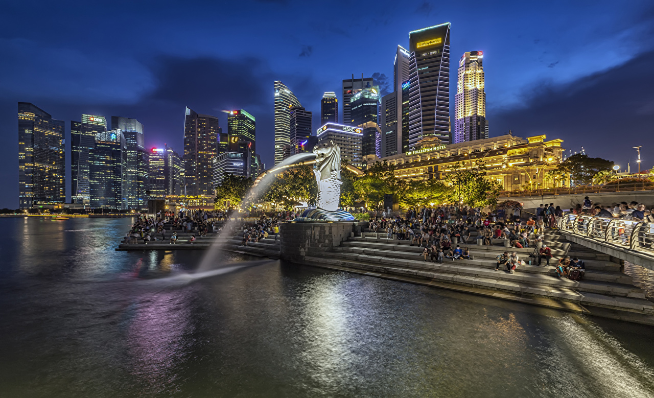 Image Singapore Fountains Merlion Park stairway park Evening Cities Building Sculptures Stairs staircase Parks Houses