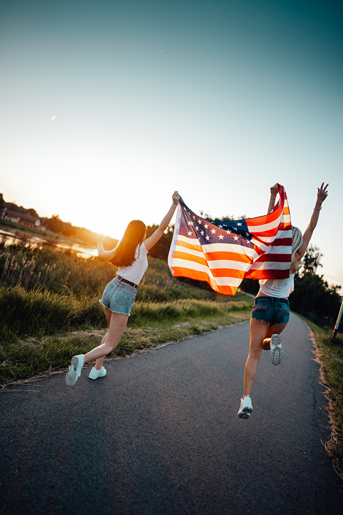 Images USA Blonde girl Running Two path Girls Flag Sunrises and sunsets Shorts  for Mobile phone Run 2 Trail female young woman sunrise and sunset