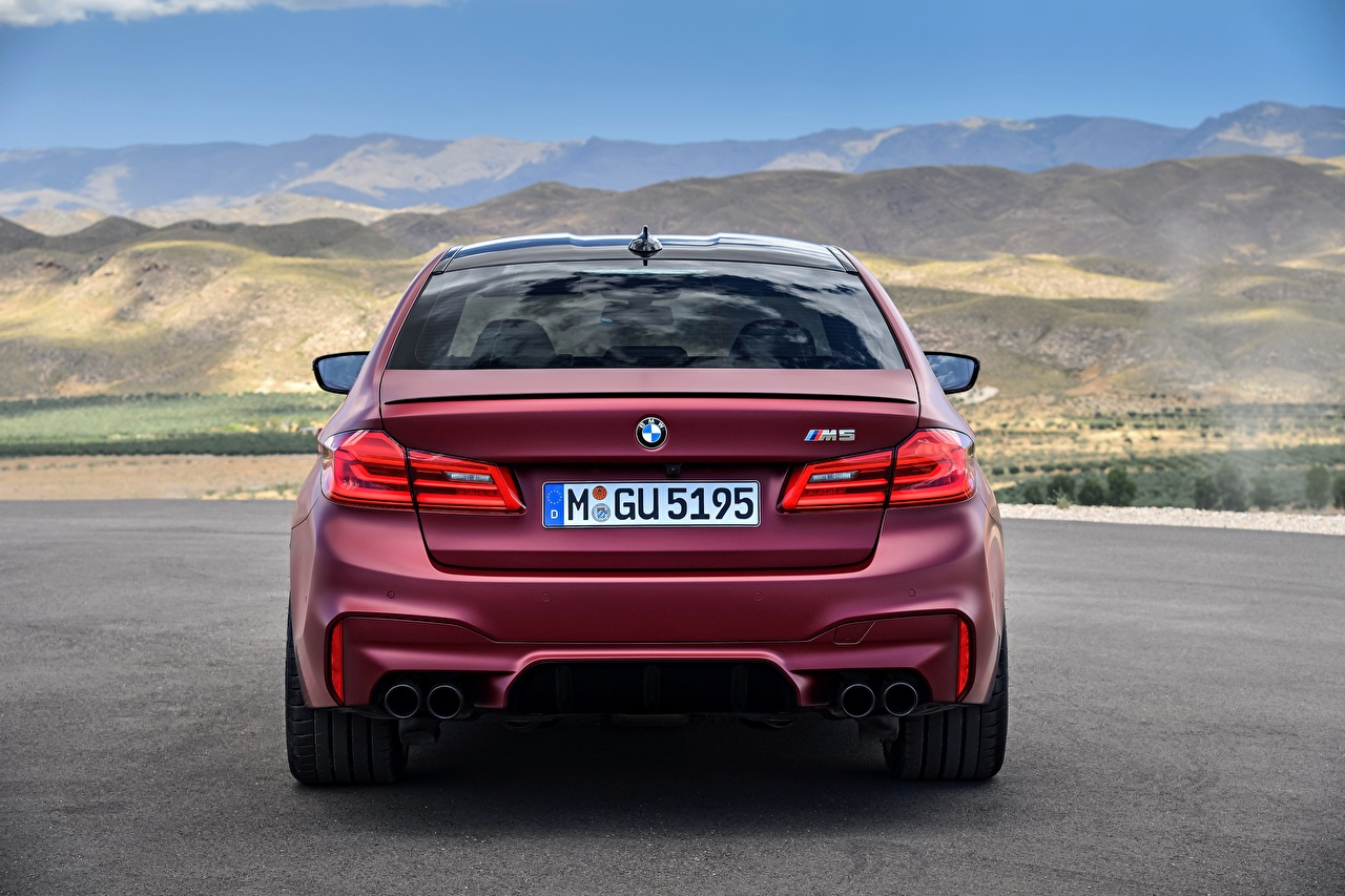 Pictures BMW 2017 F90 M5 First Edition maroon auto Back view dark red burgundy Wine color Cars automobile
