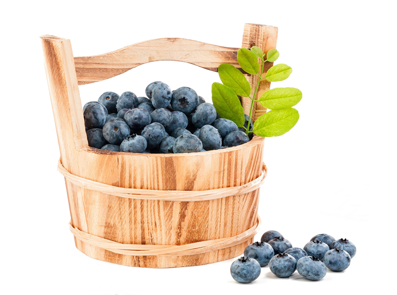 Picture Bucket Blueberries Food Berry White background