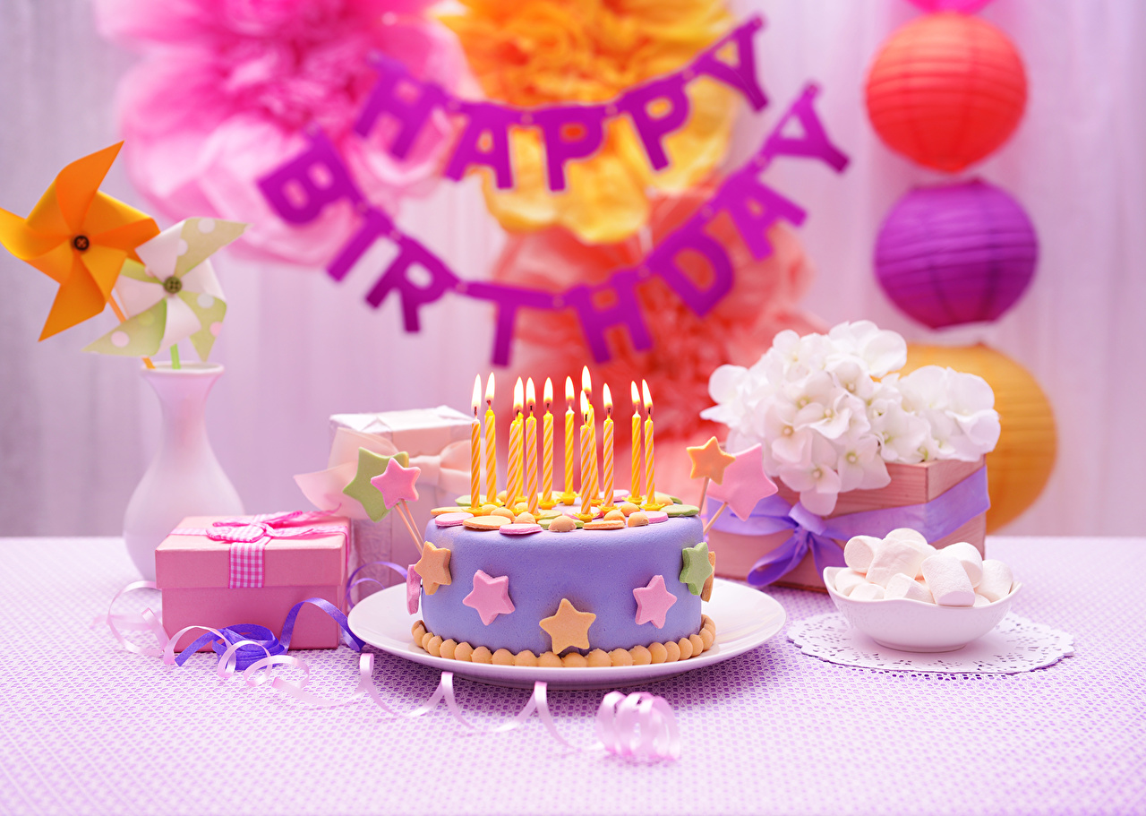 Picture Birthday Cakes Food Candles Holidays Torte