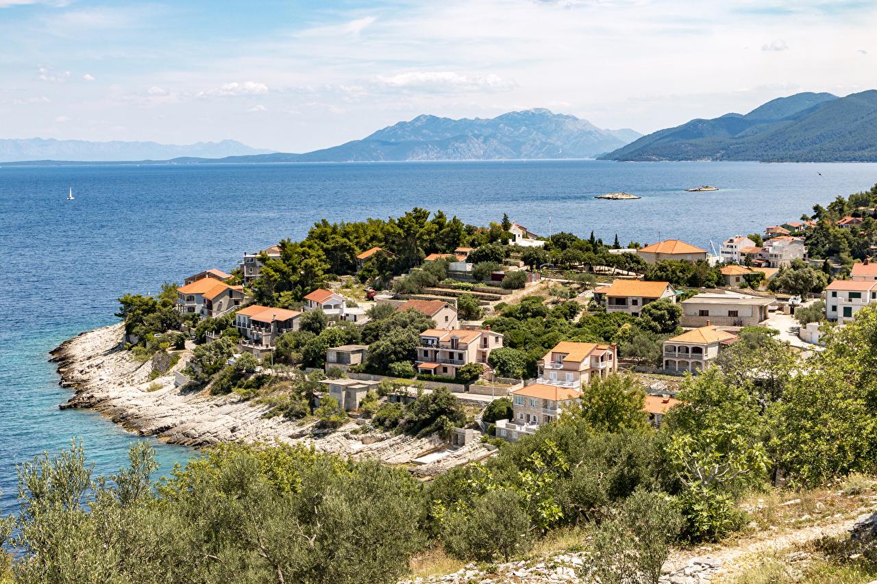 、クロアチア、住宅、海、Prigradica、湾、建物、都市、
