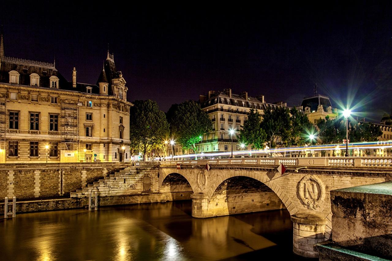 Photo Paris France Ile-de-France Bridges Rivers night time Street lights Cities bridge river Night