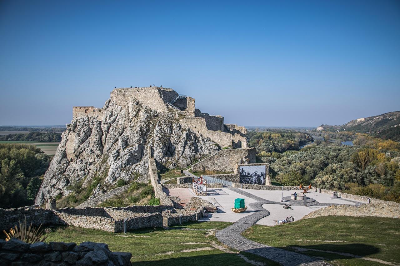 Foto Slowakei Devin castle, Bratislava Burg Natur Felsen Ruinen