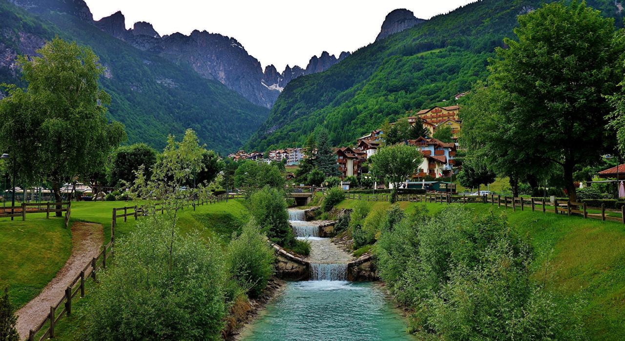 Photos Alps Italy Molveno Nature Mountains Trees Houses mountain Building