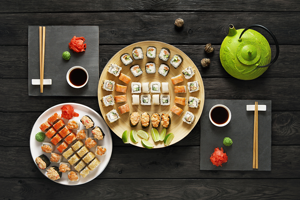 Photos Sushi Kettle Food Plate Seafoods Wood planks boards