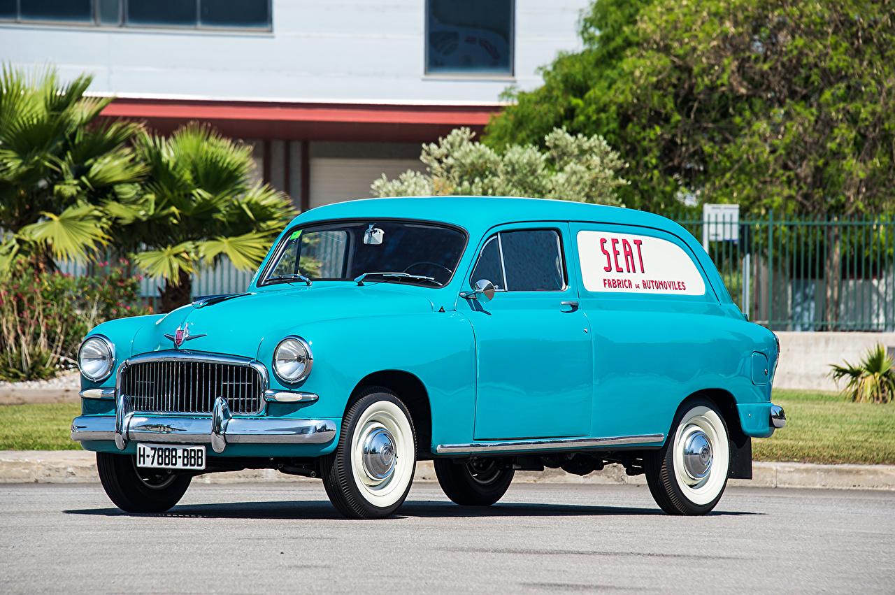 Pictures Seat 1959-63 1400 B Furgoneta Retro Light Blue auto antique vintage Cars automobile