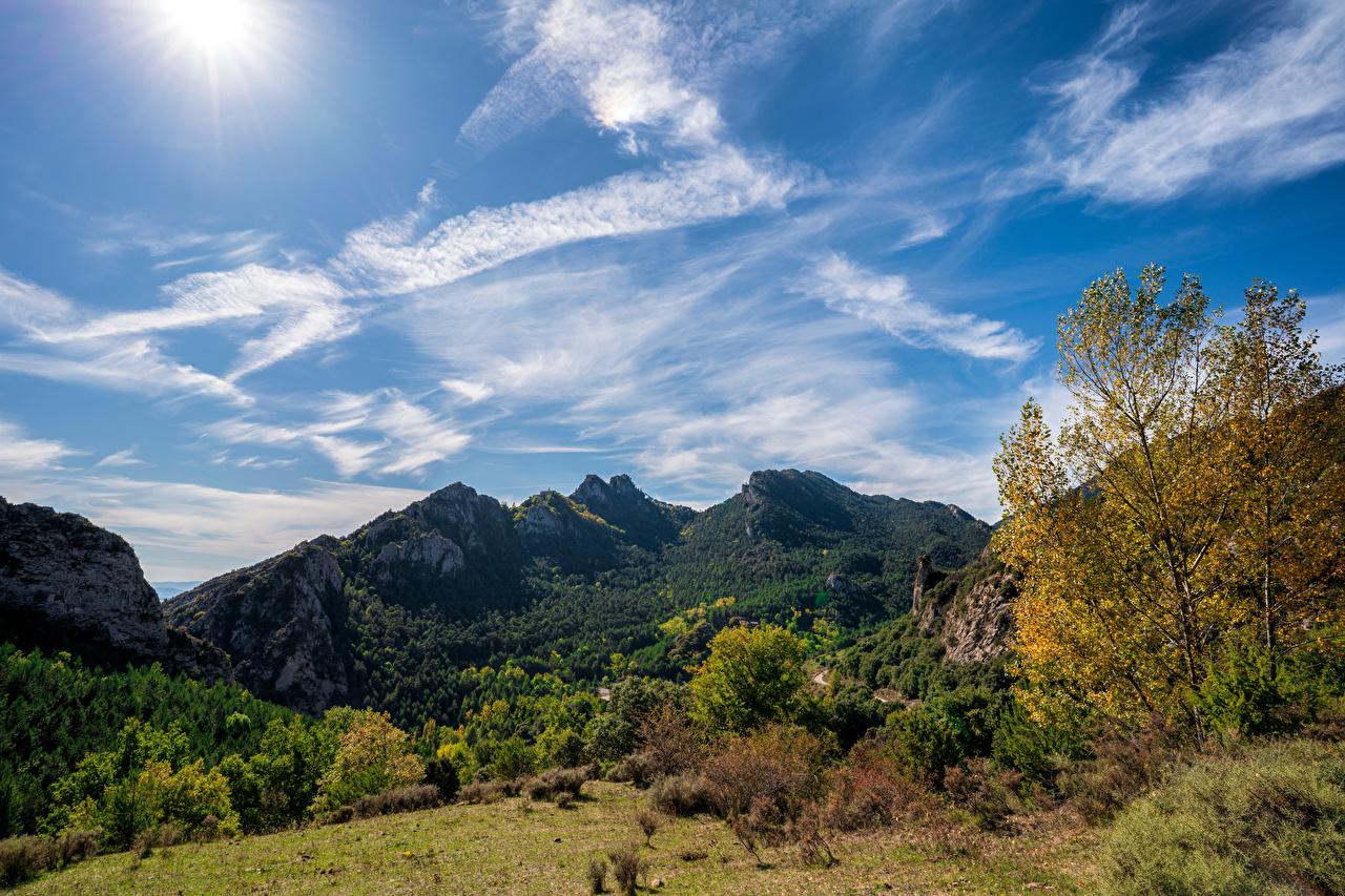Wallpaper Spain Berga, Catalonia Nature Mountains Sky Trees Clouds mountain