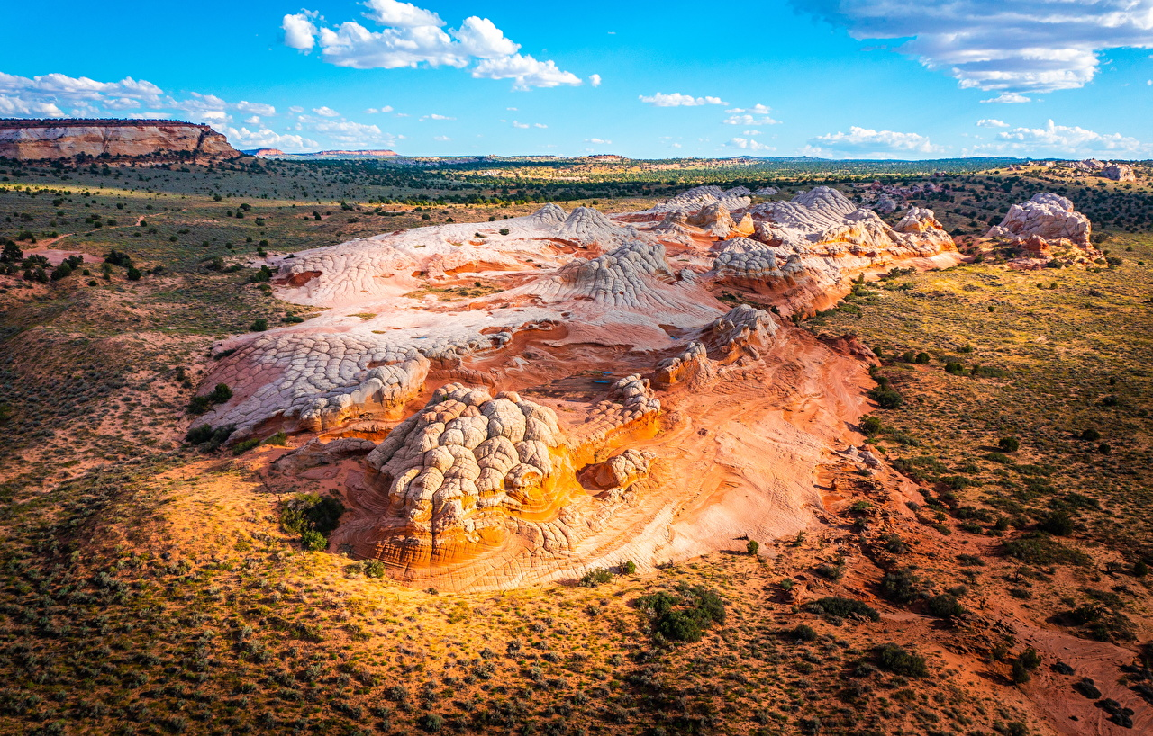 Desktop Hintergrundbilder Vereinigte Staaten White Pocket, Arizona Natur Felsen Von oben USA