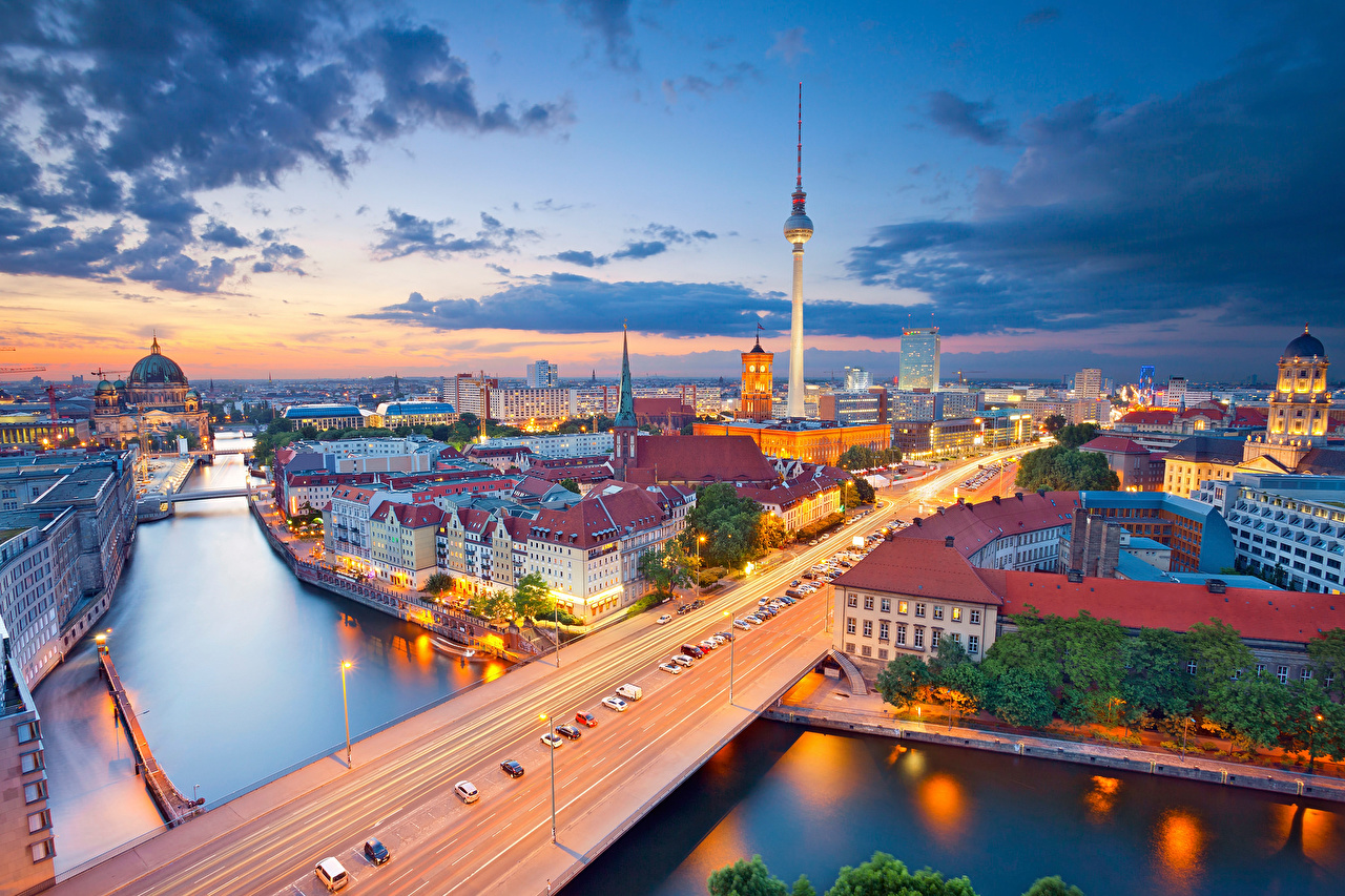 Photo Berlin Germany bridge Sky Rivers From above Houses Clouds Cities Bridges river Building