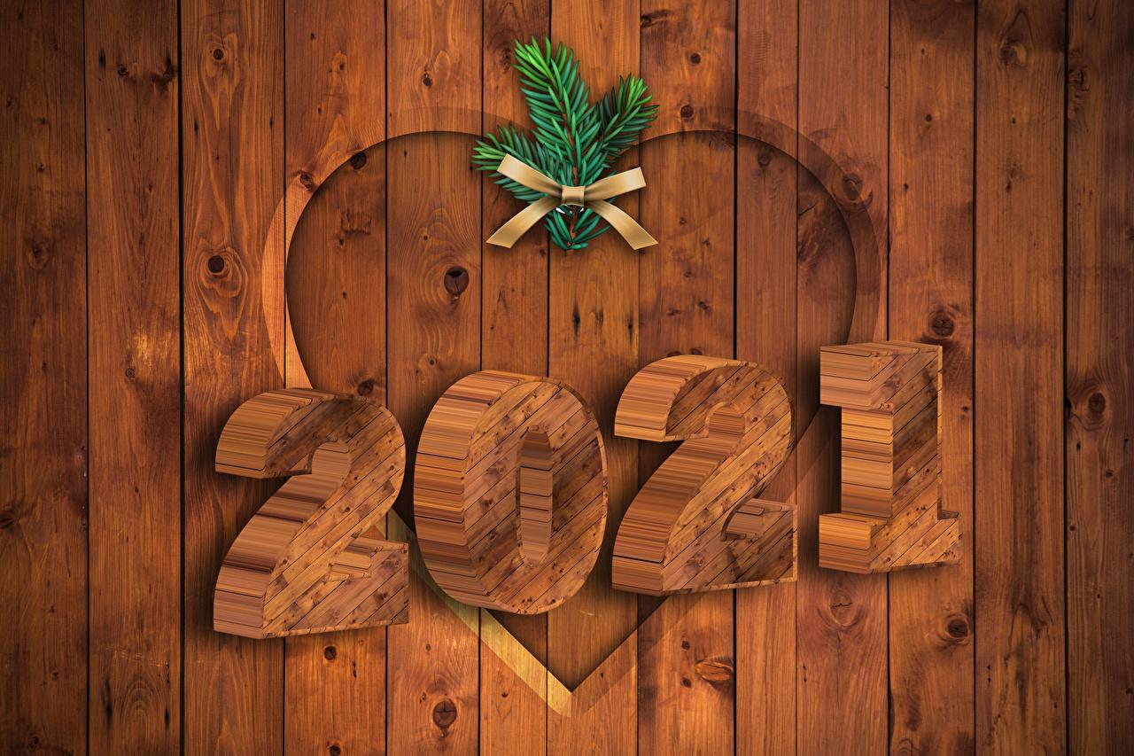 Foto 2021 Neujahr Herz Ast Schleife Bretter