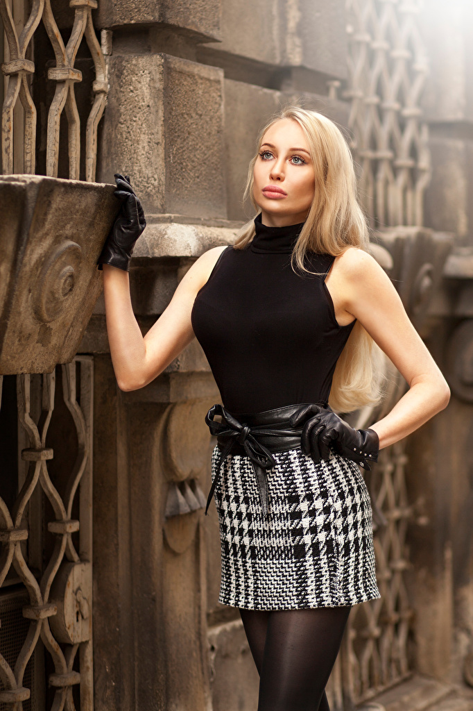 Photo Skirt Blonde girl Glove Kristina posing Girls Staring  for Mobile phone Pose female young woman Glance
