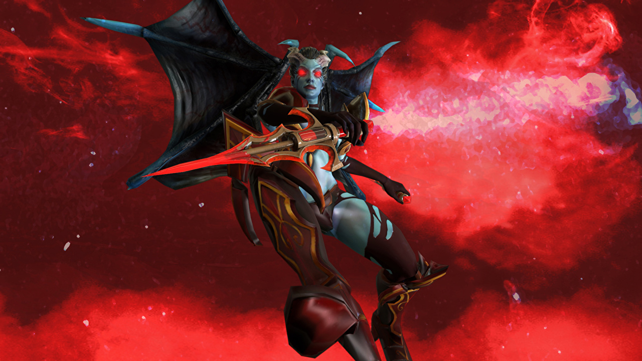 Photos Dota 2 Queen Of Pain Demons Horns Fantasy Games