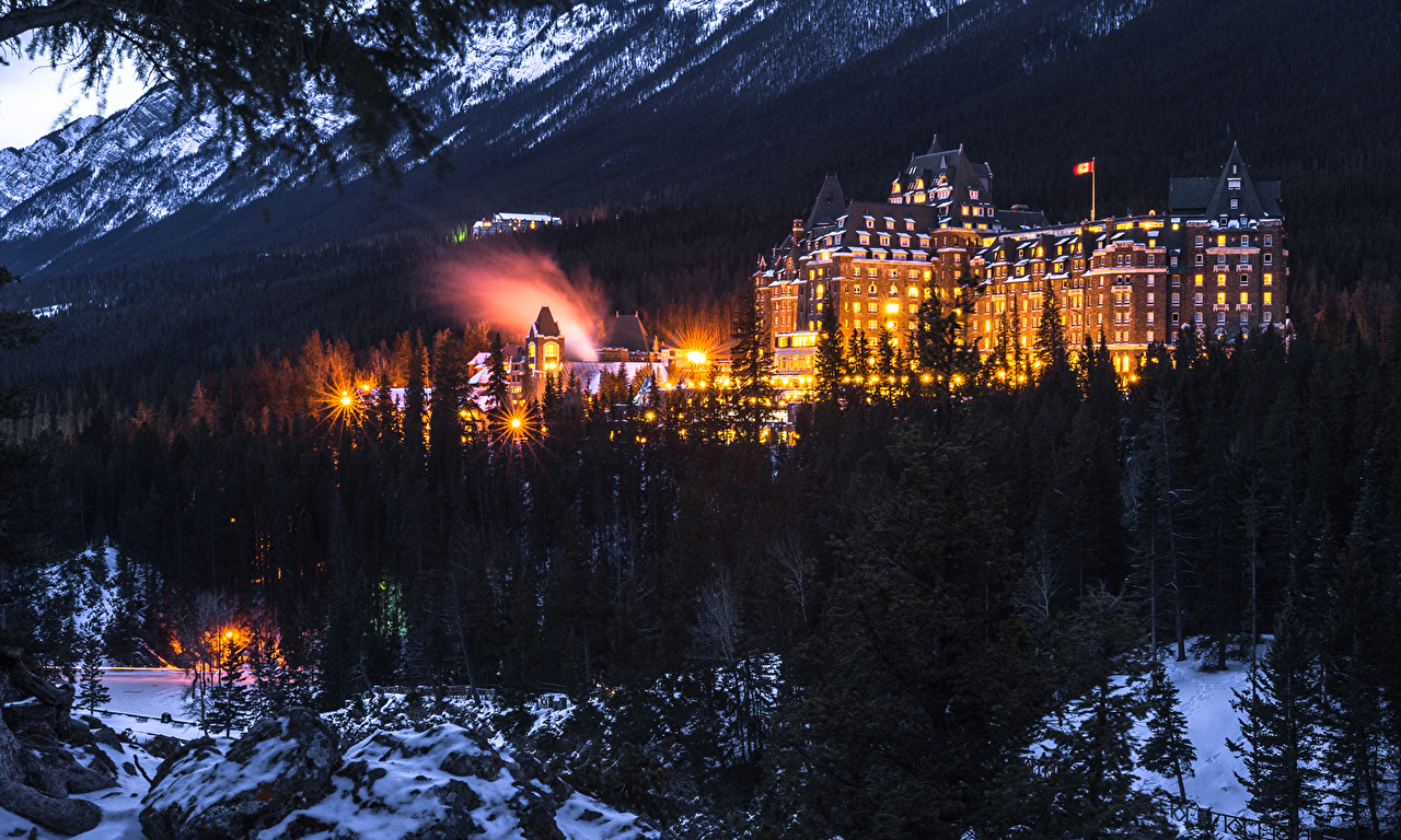 Picture Banff Canada Winter Parks forest Night Street lights Houses Cities park Forests night time Building