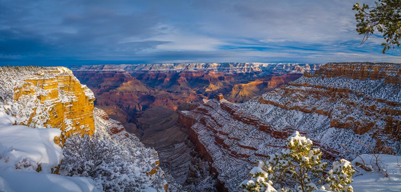 Image Grand Canyon Park USA Arizona Rock Canyon Nature Snow Parks Crag Cliff canyons park