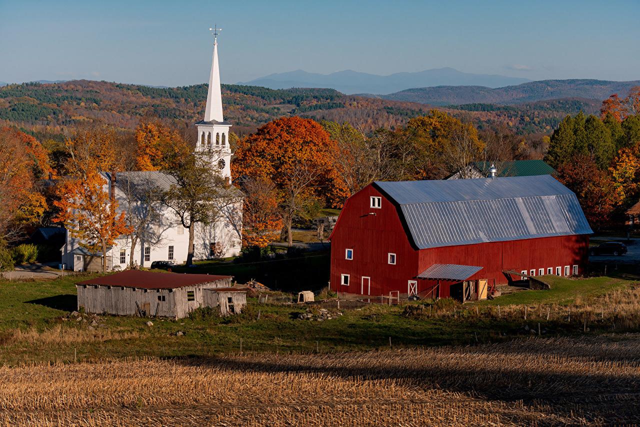 Pictures Church USA Peacham, Vermont Autumn Nature Temples Houses Cities temple Building