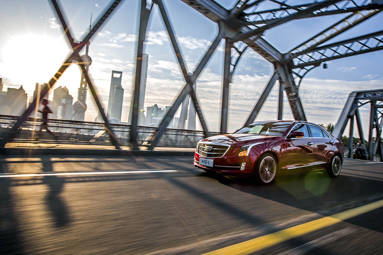Pictures Cadillac 2015 ATS Red Motion Cars moving riding driving at speed auto automobile