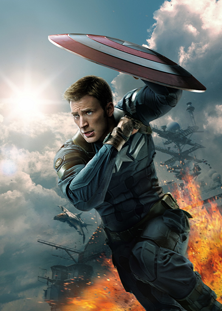Pictures Captain America: The Winter Soldier Chris Evans Shield Heroes comics Captain America hero Man Steve Rogers Movies Celebrities  for Mobile phone superheroes Men film