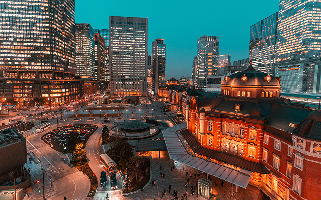 Photos Tokyo Japan Street Evening Houses Cities Building