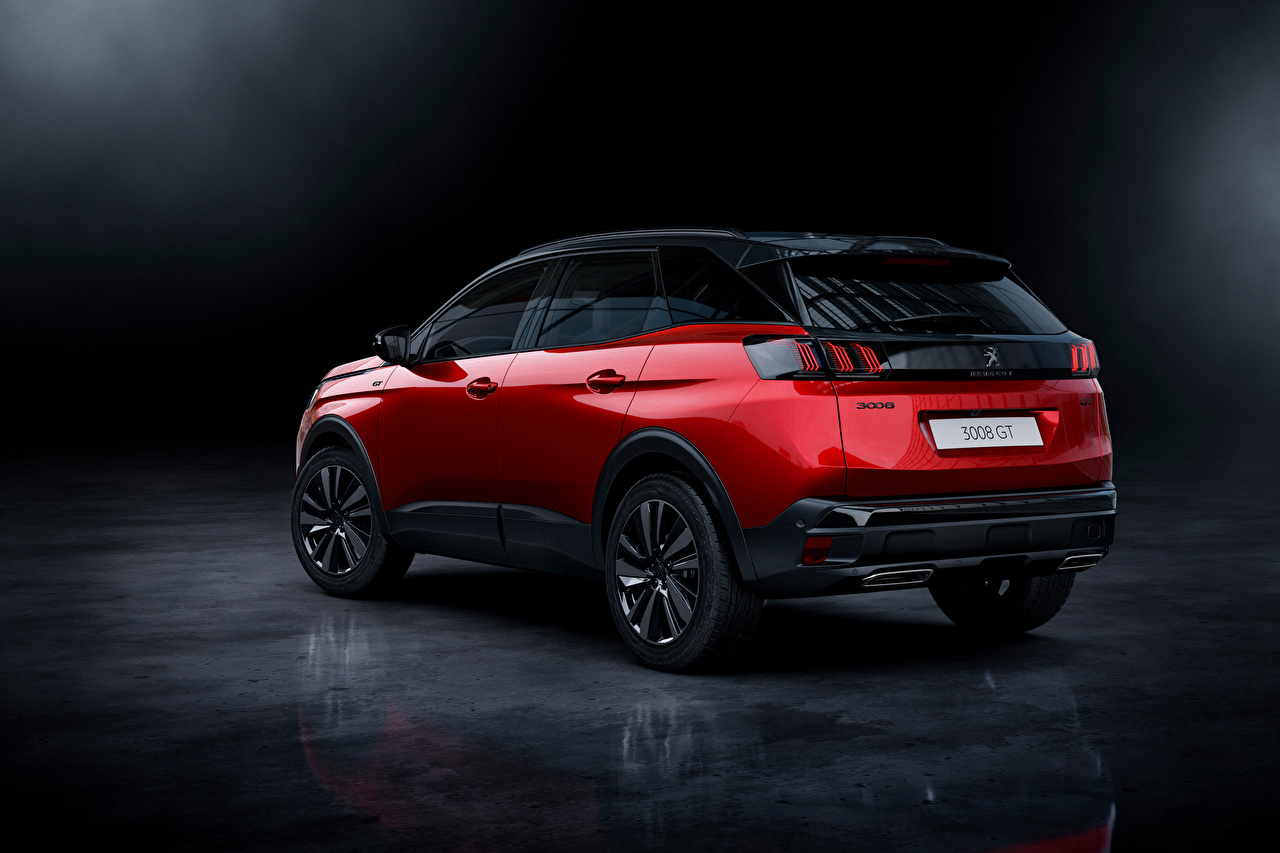 Wallpaper Peugeot Crossover 3008 GT, 2020 Red auto Metallic CUV Cars automobile