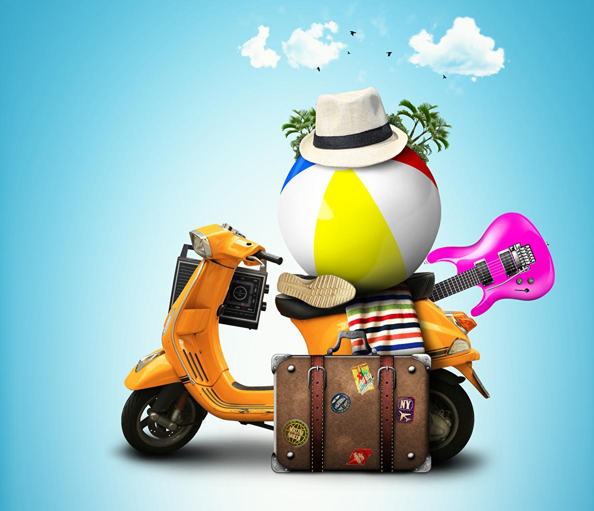 Fotos von 3D-Grafik Motorroller Gitarre Der Hut Touristik Koffer Ball Farbigen hintergrund Tourismus