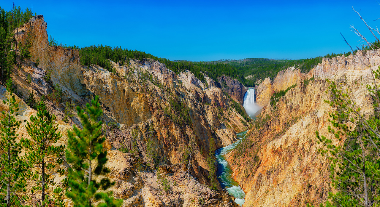 Foto Yellowstone Vereinigte Staaten Natur Felsen Canyon Wasserfall Wald Park USA canyons Parks Wälder