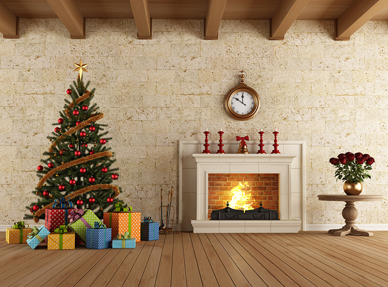 Enjoyable Picture Christmas Clock 3D Graphics New Year Tree Gifts Interior Download Free Architecture Designs Lukepmadebymaigaardcom
