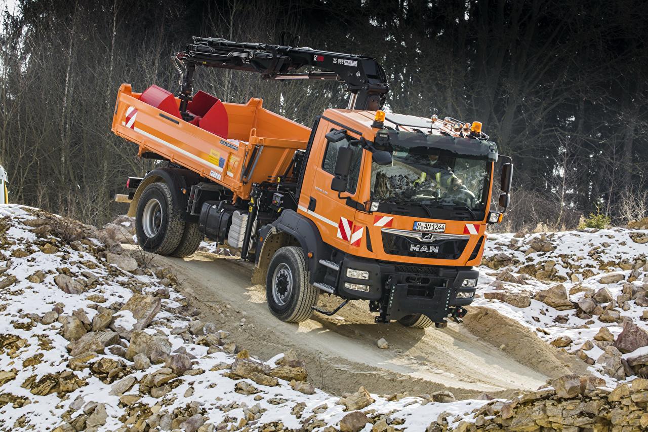 Achtergronden Vrachtwagens Oranje Auto vrachtauto auto's automobiel
