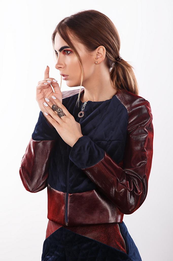 Desktop Wallpapers Viacheslav Krivonos Brown haired Modelling Makeup Alisa Girls Hands  for Mobile phone Model female young woman