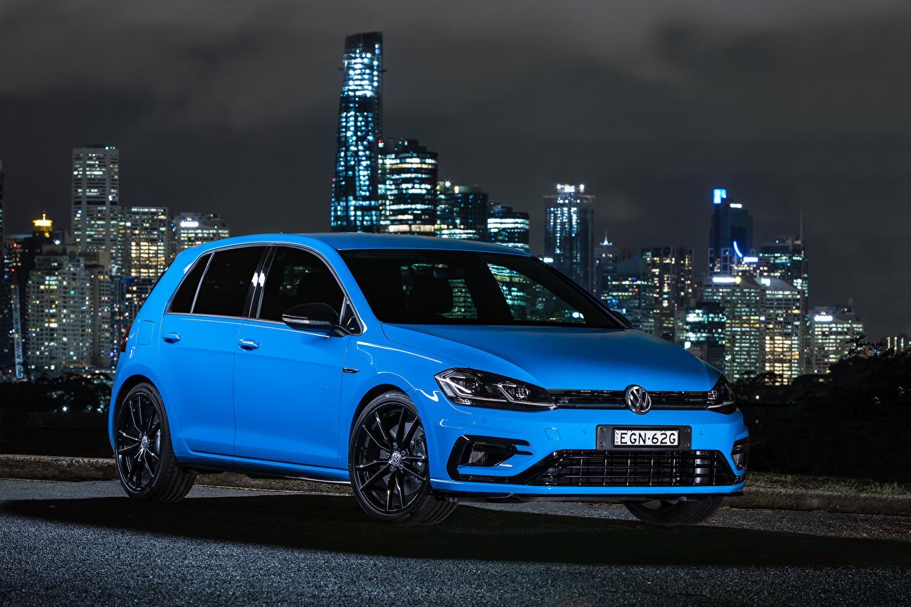 Desktop Hintergrundbilder Volkswagen 2020 Golf R 5-door Final Edition Hellblau Autos Metallisch auto automobil