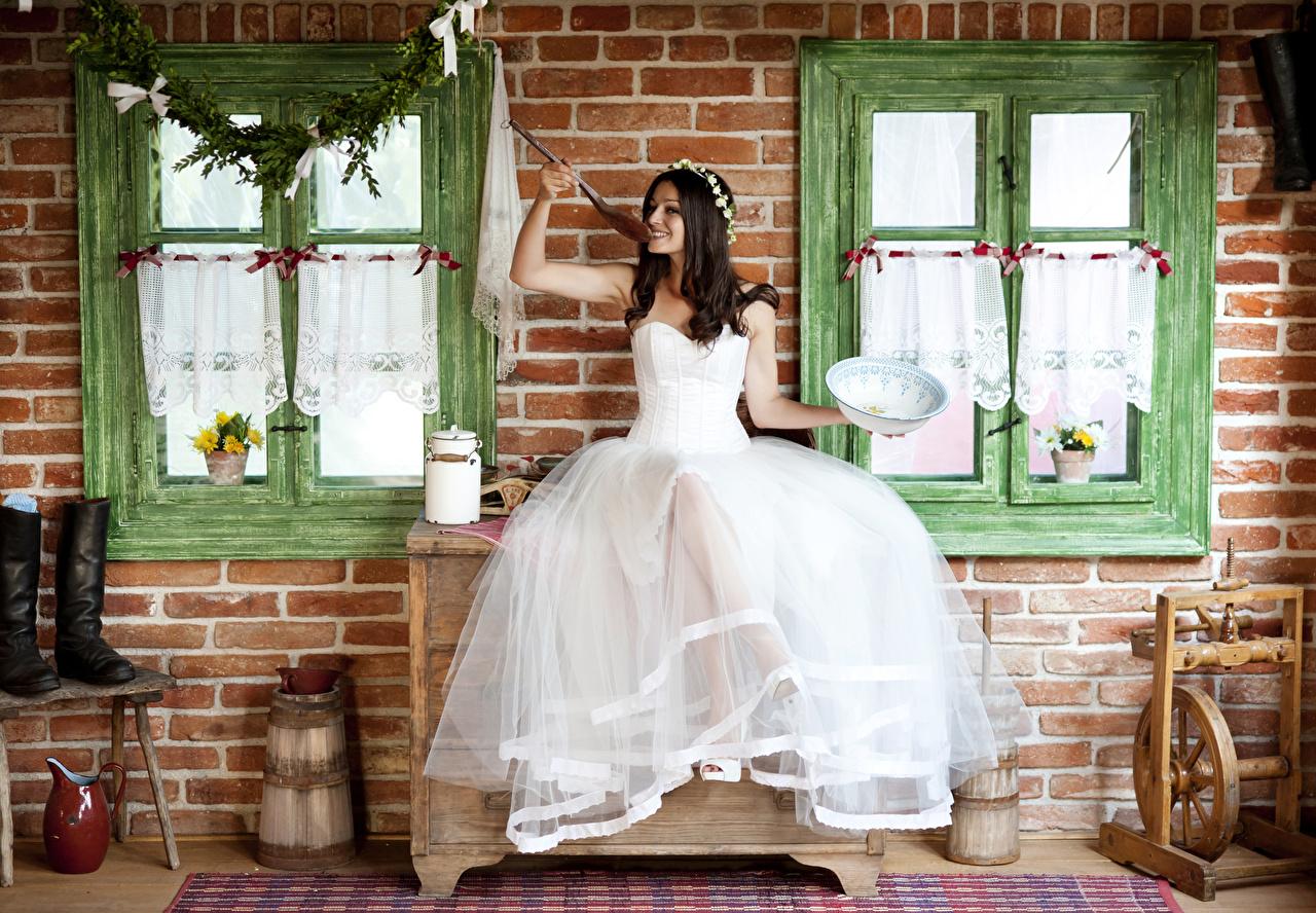 Wallpaper Bride Brunette girl Smile Wreath young woman Spoon Window Sitting Dress brides Girls female sit gown frock