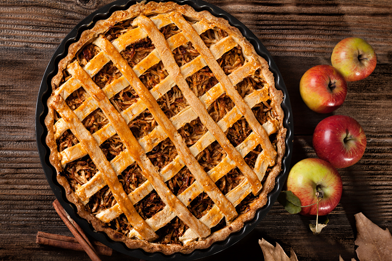 Picture Pie Apples Food baking Pastry