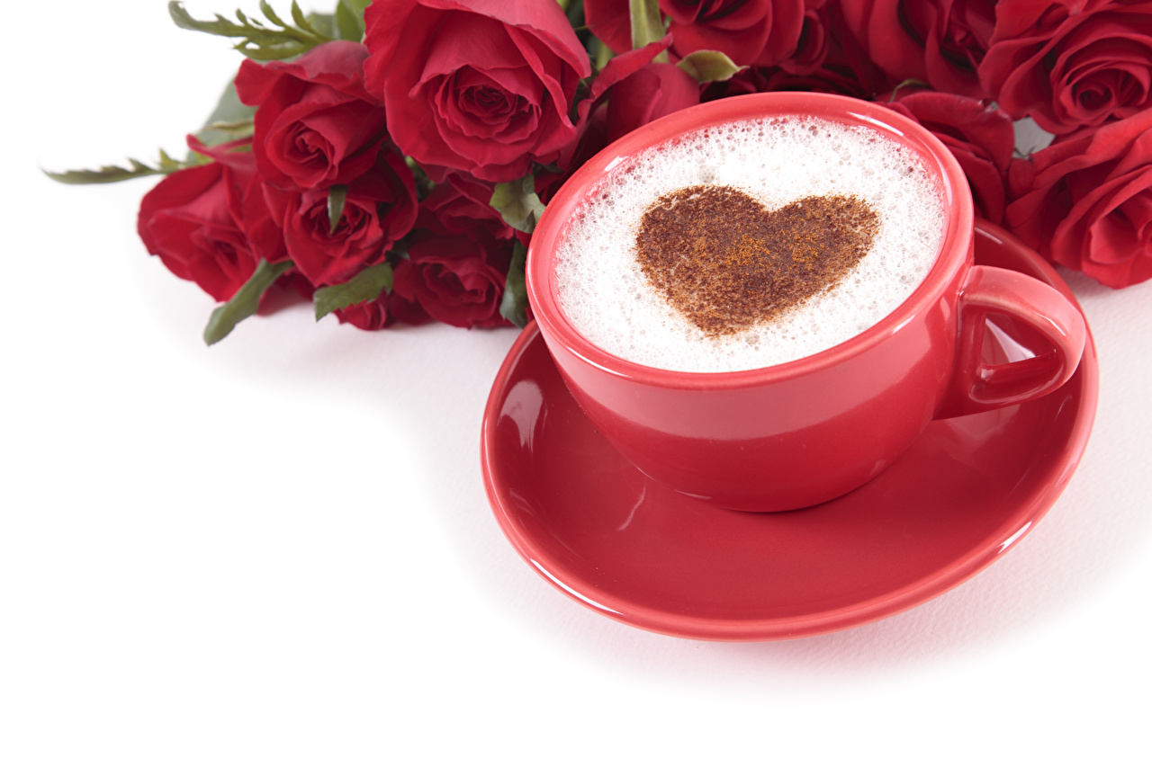 Wallpaper Valentine's Day Heart Red Roses Coffee Cappuccino Flowers Cup Food Foam White background
