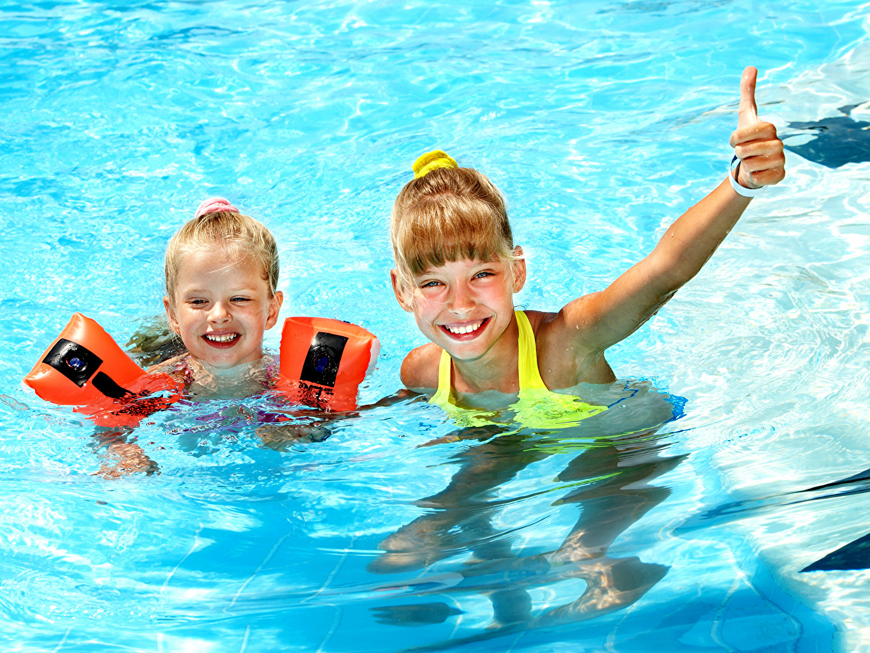 Wallpaper Little girls Pools Smile child Two Water Swimming bath Children 2