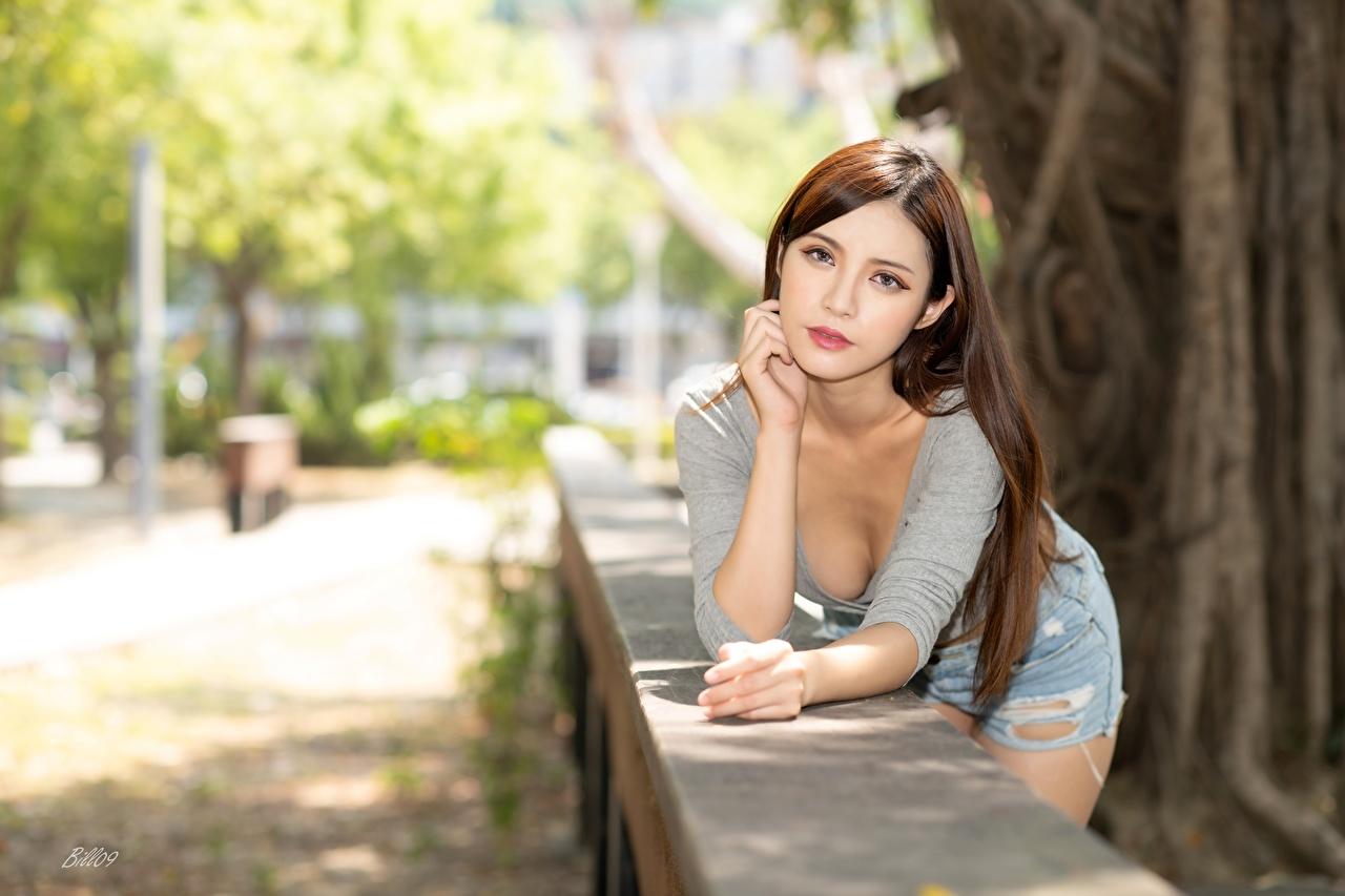 Bilder Braune Haare Bokeh posiert Mädchens Asiaten Hand Blick Braunhaarige unscharfer Hintergrund Pose junge frau junge Frauen Asiatische asiatisches Starren