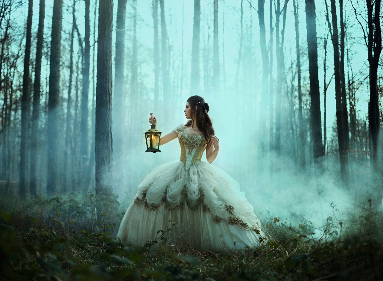 Desktop Hintergrundbilder Brünette Nebel junge frau Wald Hand Lampe Kleid Mädchens junge Frauen Wälder