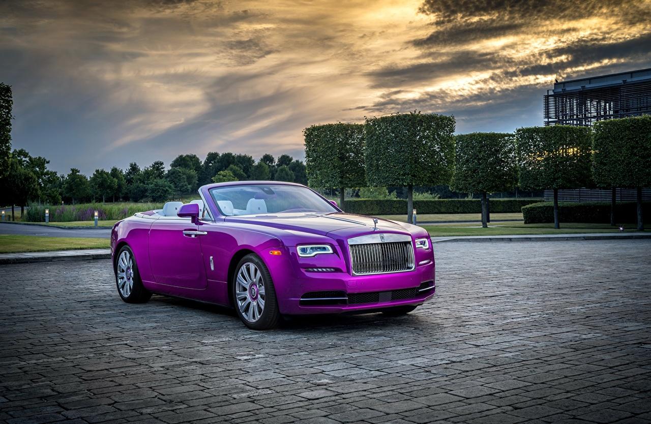Wallpaper Rolls Royce Convertible Violet Automobile