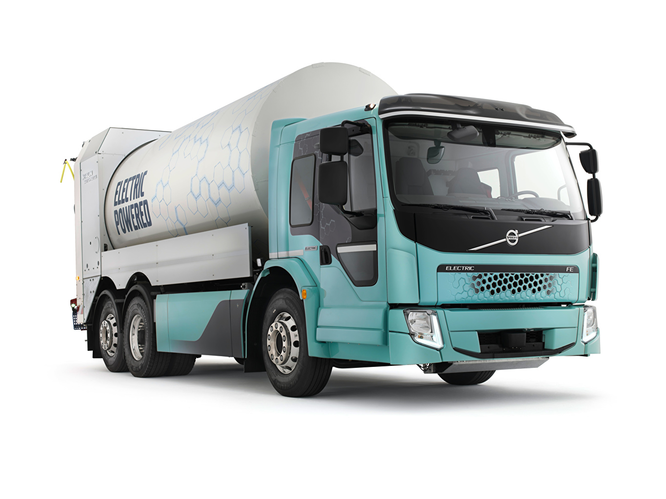 Picture Volvo Trucks FE Electric Refuse Collector auto White background lorry Cars automobile