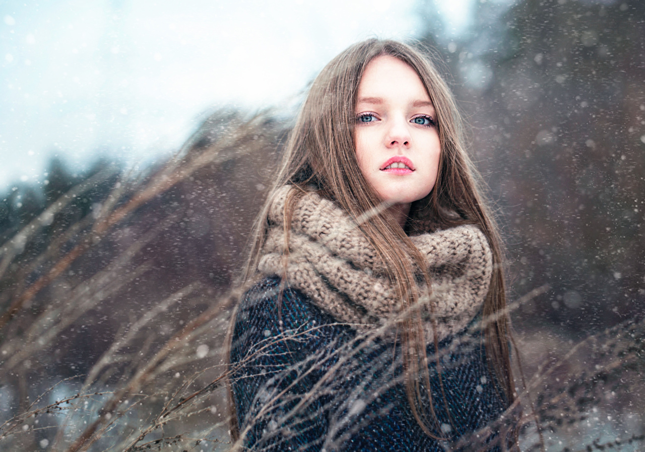 Images Little girls Brown haired Girls Winter Snow female young woman